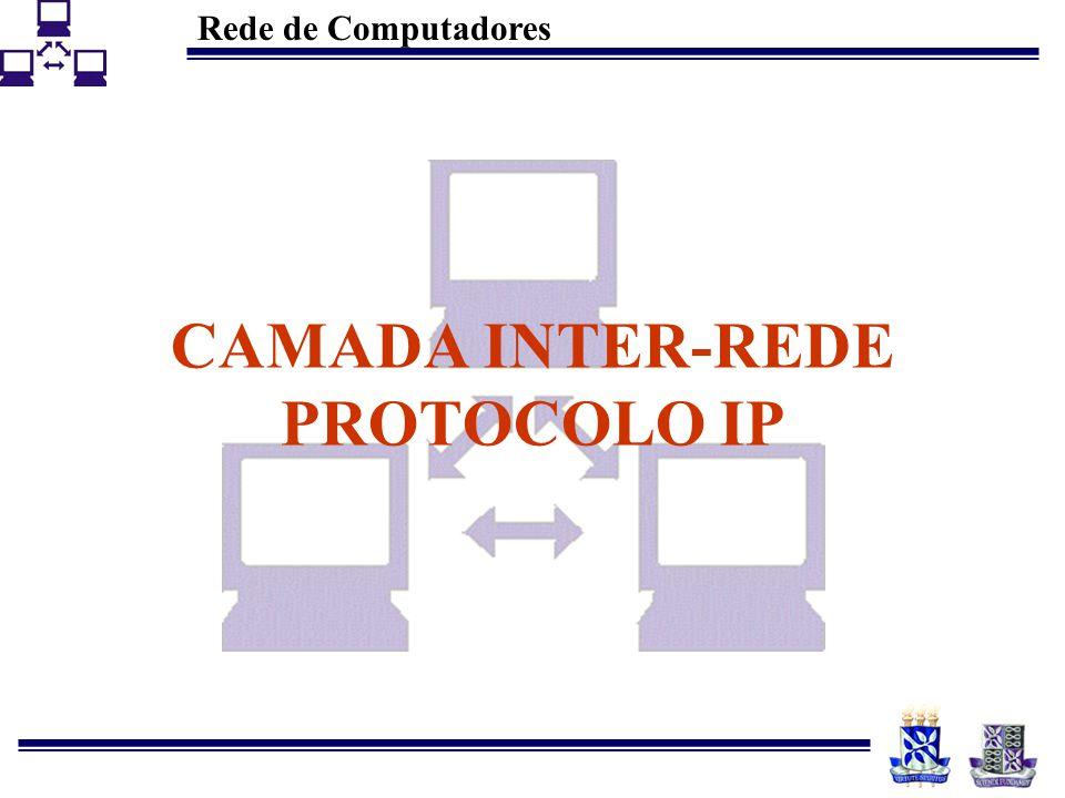 Rede de Computadores 43 Protocolos IGP (RIP) Existência de dois grupos –Ativos (geralmente Roteadores) –Passivos (geralmente estações) Utilização do algoritmo de vector-distance com unidade métrica em hops Limite de 16 hops Atualização em, no máximo, 180 seg.