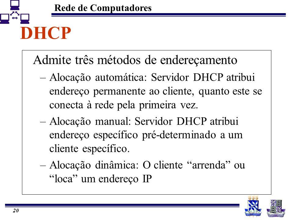 Rede de Computadores 20 DHCP Admite três métodos de endereçamento –Alocação automática: Servidor DHCP atribui endereço permanente ao cliente, quanto e