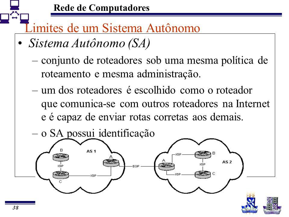 Rede de Computadores 38 Limites de um Sistema Autônomo Sistema Autônomo (SA) –conjunto de roteadores sob uma mesma política de roteamento e mesma admi