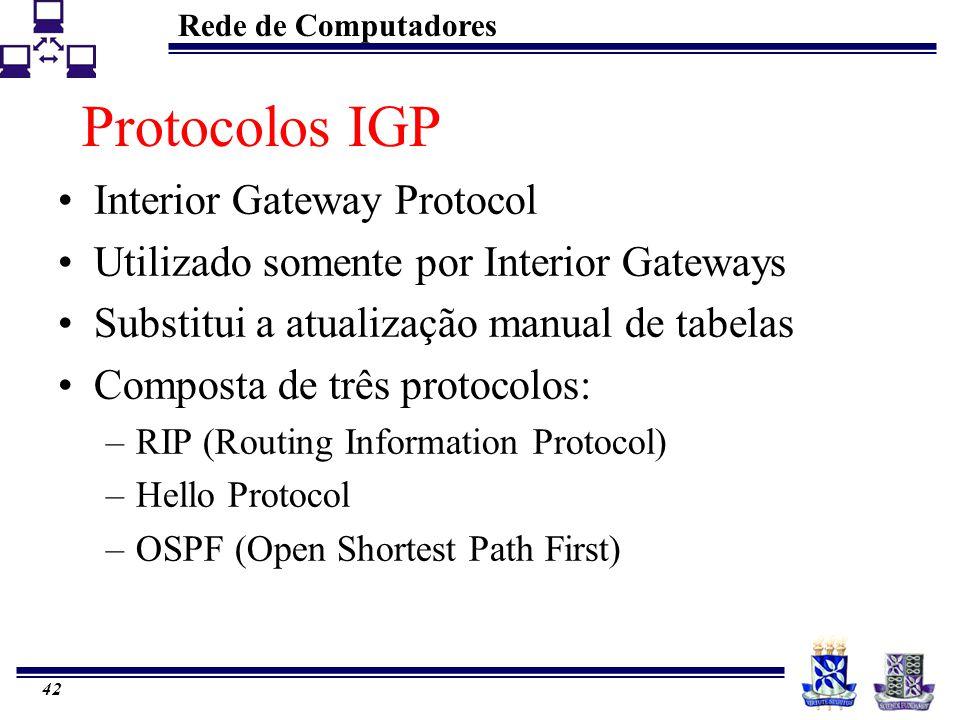 Rede de Computadores 42 Protocolos IGP Interior Gateway Protocol Utilizado somente por Interior Gateways Substitui a atualização manual de tabelas Com