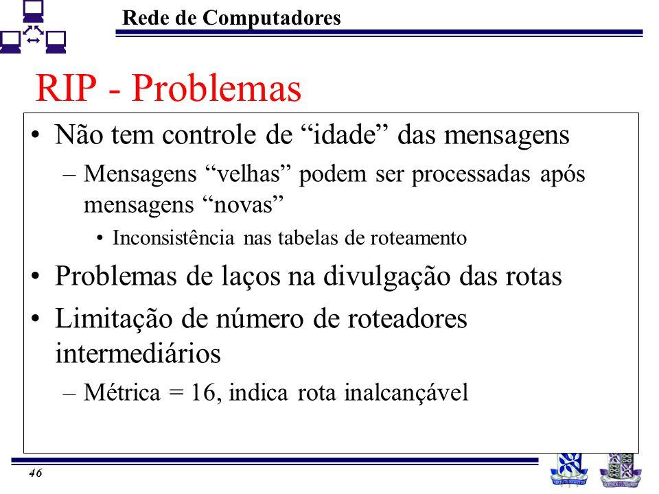 """Rede de Computadores 46 RIP - Problemas Não tem controle de """"idade"""" das mensagens –Mensagens """"velhas"""" podem ser processadas após mensagens """"novas"""" Inc"""