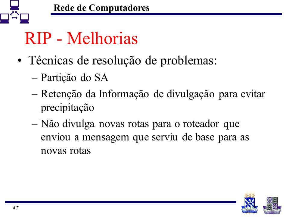 Rede de Computadores 47 RIP - Melhorias Técnicas de resolução de problemas: –Partição do SA –Retenção da Informação de divulgação para evitar precipit