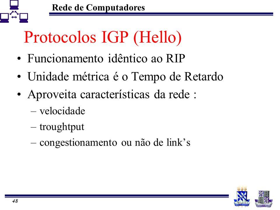 Rede de Computadores 48 Protocolos IGP (Hello) Funcionamento idêntico ao RIP Unidade métrica é o Tempo de Retardo Aproveita características da rede :