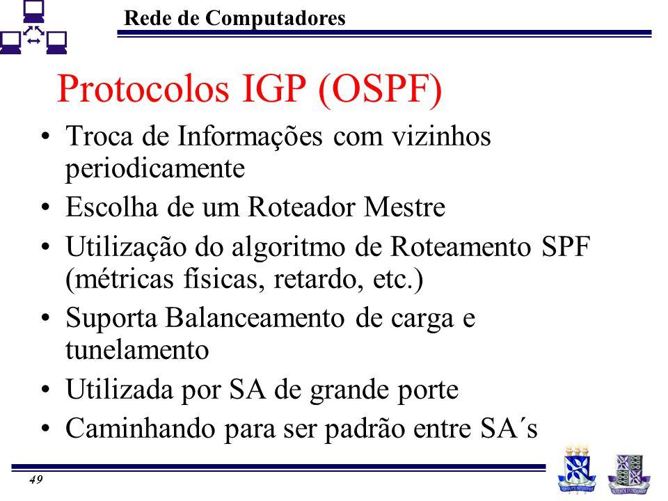 Rede de Computadores 49 Protocolos IGP (OSPF) Troca de Informações com vizinhos periodicamente Escolha de um Roteador Mestre Utilização do algoritmo d