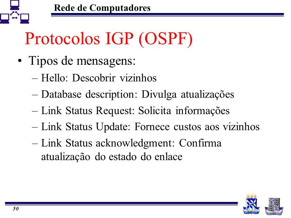 Rede de Computadores 50 Protocolos IGP (OSPF) Tipos de mensagens: –Hello: Descobrir vizinhos –Database description: Divulga atualizações –Link Status