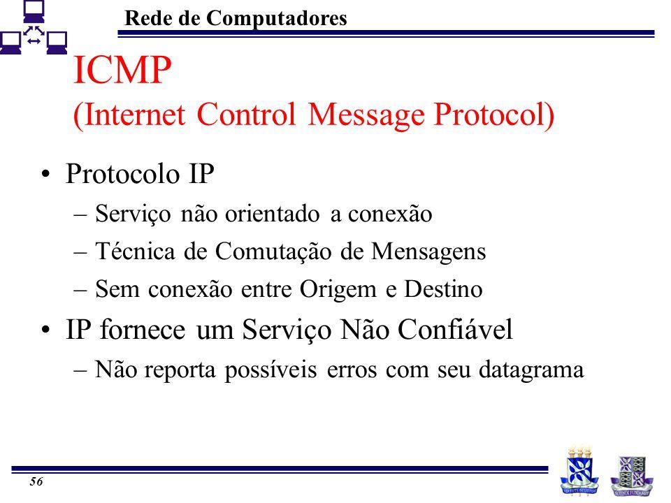 Rede de Computadores 56 ICMP (Internet Control Message Protocol) Protocolo IP –Serviço não orientado a conexão –Técnica de Comutação de Mensagens –Sem