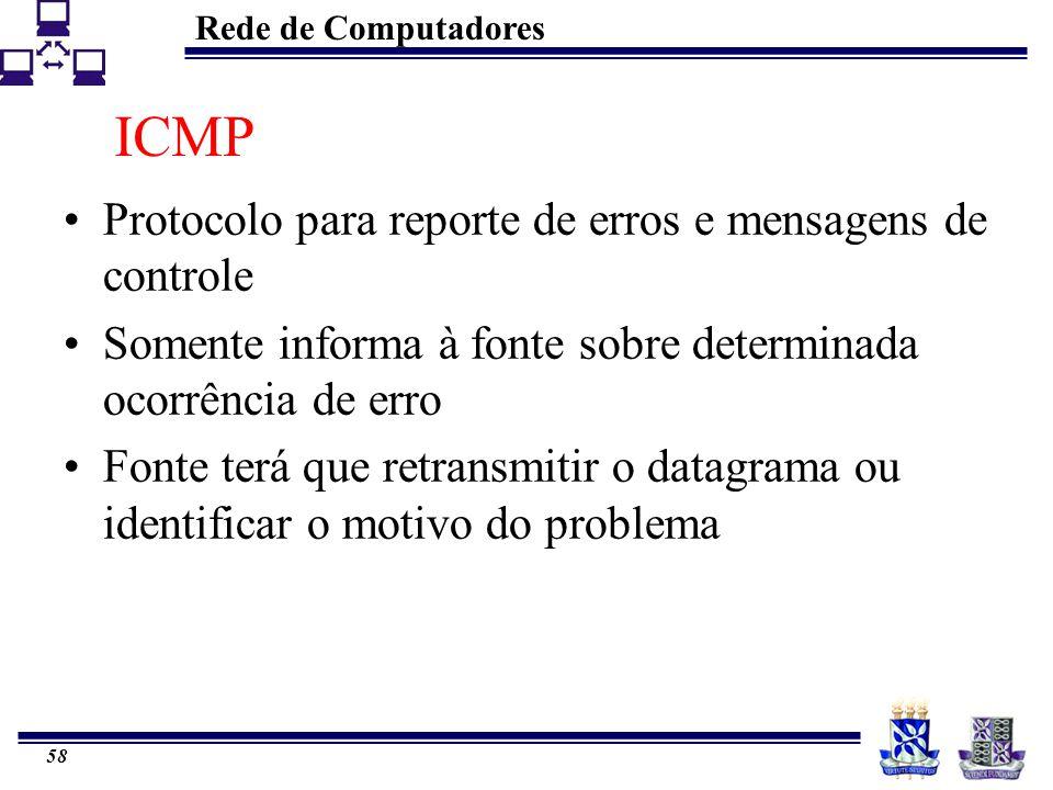 Rede de Computadores 58 ICMP Protocolo para reporte de erros e mensagens de controle Somente informa à fonte sobre determinada ocorrência de erro Font