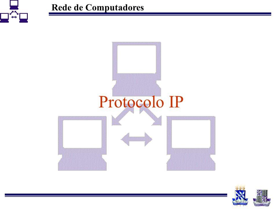 Rede de Computadores 7 Características do IP Sistema de entrega fim-a-fim É um protocolo –Não orientados à conexão –Sem controle de erros e sem reconhecimento –Isso significa que o protocolo IP não executa: Controle de erros sobre os dados da aplicação Controle de fluxo Sequenciamento de dados Entrega ordenada