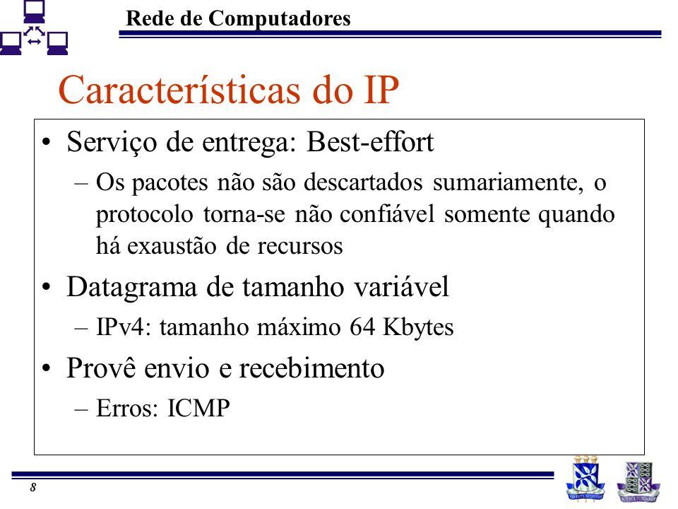 Rede de Computadores 8 Características do IP Serviço de entrega: Best-effort –Os pacotes não são descartados sumariamente, o protocolo torna-se não co