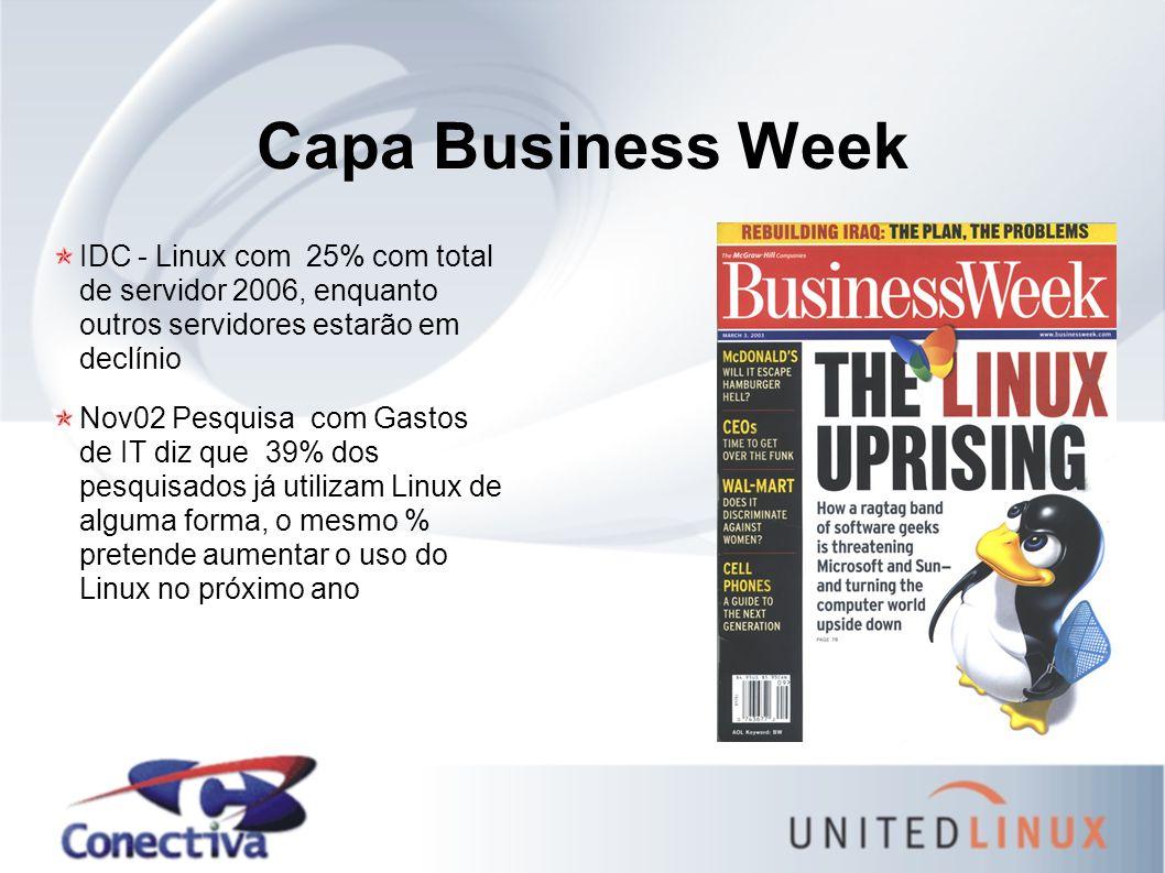 Capa Business Week IDC - Linux com 25% com total de servidor 2006, enquanto outros servidores estarão em declínio Nov02 Pesquisa com Gastos de IT diz