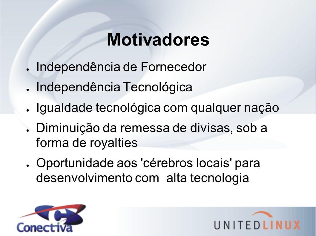 Motivadores ● Independência de Fornecedor ● Independência Tecnológica ● Igualdade tecnológica com qualquer nação ● Diminuição da remessa de divisas, s