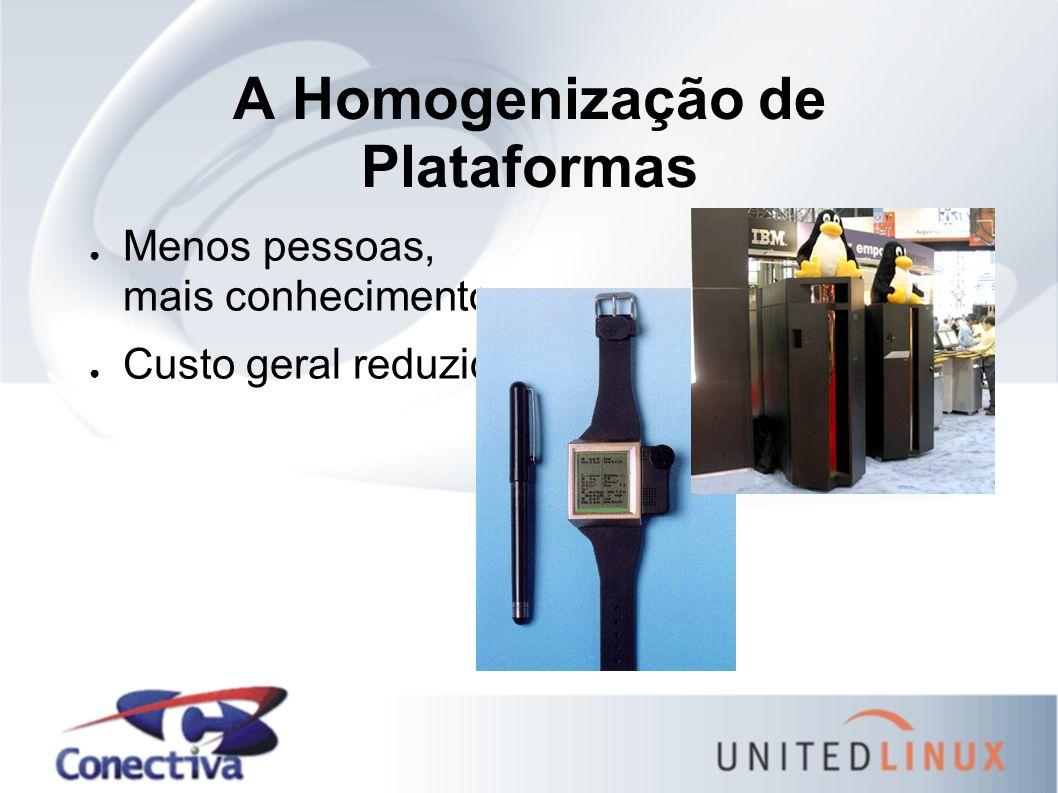A Homogenização de Plataformas ● Menos pessoas, mais conhecimento ● Custo geral reduzido