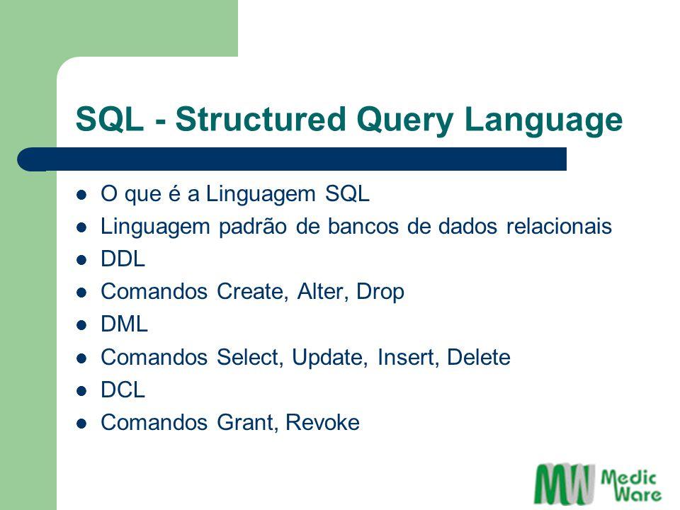 SQL - Structured Query Language O que é a Linguagem SQL Linguagem padrão de bancos de dados relacionais DDL Comandos Create, Alter, Drop DML Comandos Select, Update, Insert, Delete DCL Comandos Grant, Revoke