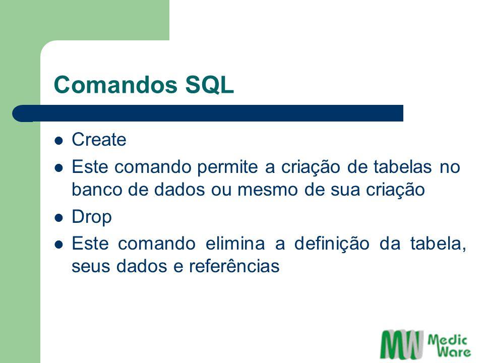 Comandos SQL Create Este comando permite a criação de tabelas no banco de dados ou mesmo de sua criação Drop Este comando elimina a definição da tabela, seus dados e referências