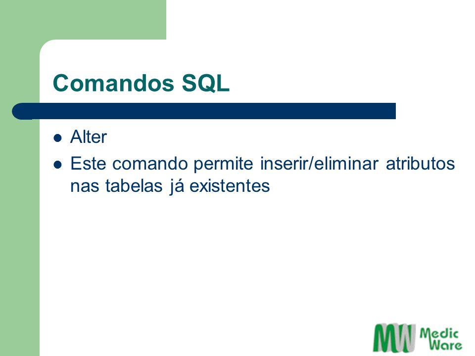 Comandos SQL Alter Este comando permite inserir/eliminar atributos nas tabelas já existentes