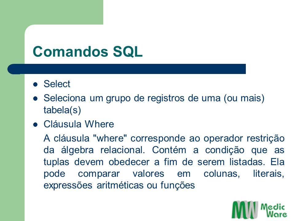Comandos SQL Select Seleciona um grupo de registros de uma (ou mais) tabela(s) Cláusula Where A cláusula where corresponde ao operador restrição da álgebra relacional.
