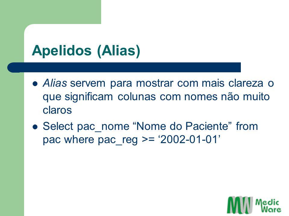 Apelidos (Alias) Alias servem para mostrar com mais clareza o que significam colunas com nomes não muito claros Select pac_nome Nome do Paciente from pac where pac_reg >= '2002-01-01'