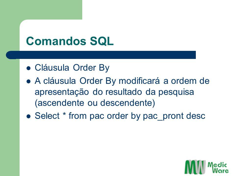 Comandos SQL Cláusula Order By A cláusula Order By modificará a ordem de apresentação do resultado da pesquisa (ascendente ou descendente) Select * from pac order by pac_pront desc