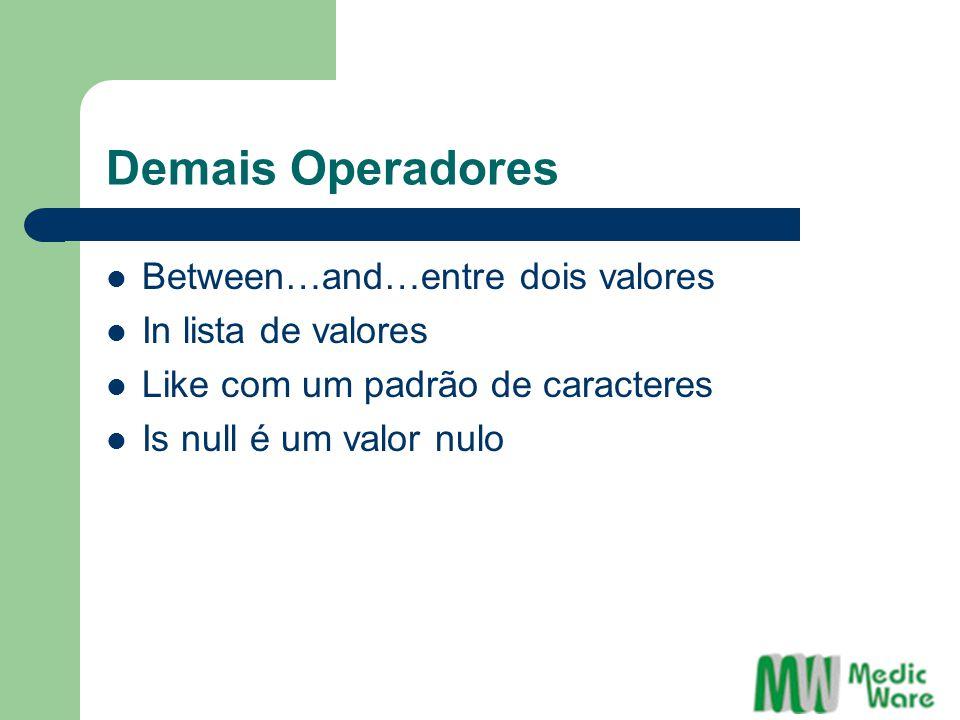 Demais Operadores Between…and…entre dois valores In lista de valores Like com um padrão de caracteres Is null é um valor nulo