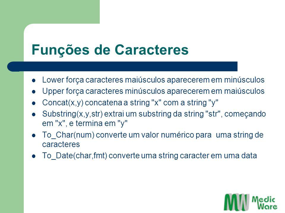Funções de Caracteres Lower força caracteres maiúsculos aparecerem em minúsculos Upper força caracteres minúsculos aparecerem em maiúsculos Concat(x,y