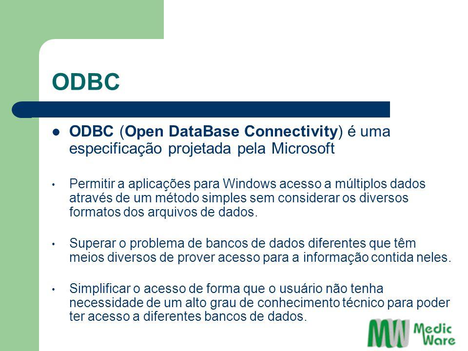 ODBC ODBC (Open DataBase Connectivity) é uma especificação projetada pela Microsoft Permitir a aplicações para Windows acesso a múltiplos dados através de um método simples sem considerar os diversos formatos dos arquivos de dados.