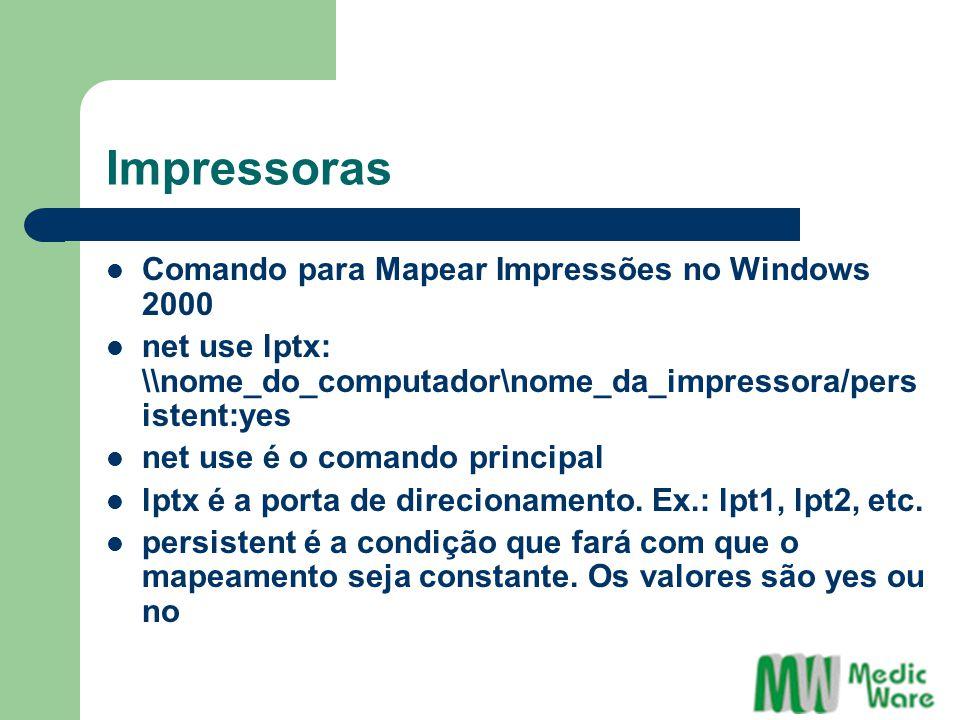 Impressoras Comando para Mapear Impressões no Windows 2000 net use lptx: \\nome_do_computador\nome_da_impressora/pers istent:yes net use é o comando principal lptx é a porta de direcionamento.