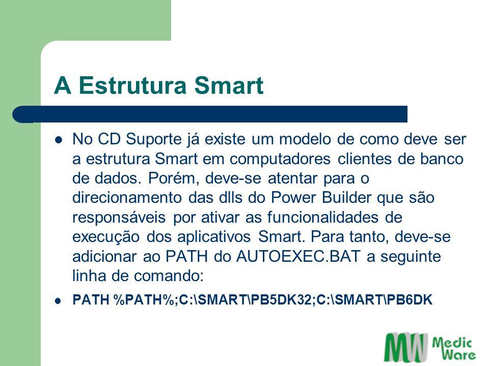 A Estrutura Smart No CD Suporte já existe um modelo de como deve ser a estrutura Smart em computadores clientes de banco de dados. Porém, deve-se aten