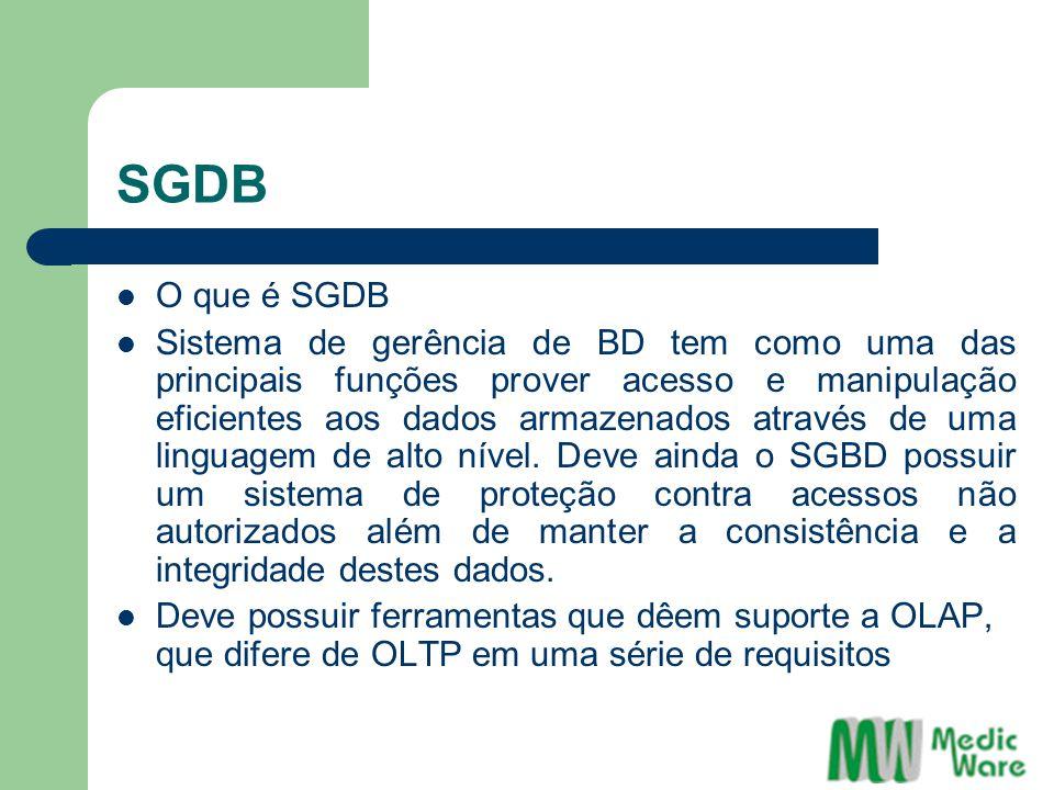 ODBC ODBC também provê os seguintes benefícios: SQL (Structured Query Language) é usado como método de acesso aos dados através do ODBC Simplifica o desenvolvimento de aplicações provendo acesso fácil a múltiplas bases de dados Desvincula as aplicações de mudanças de versões na base de dados.