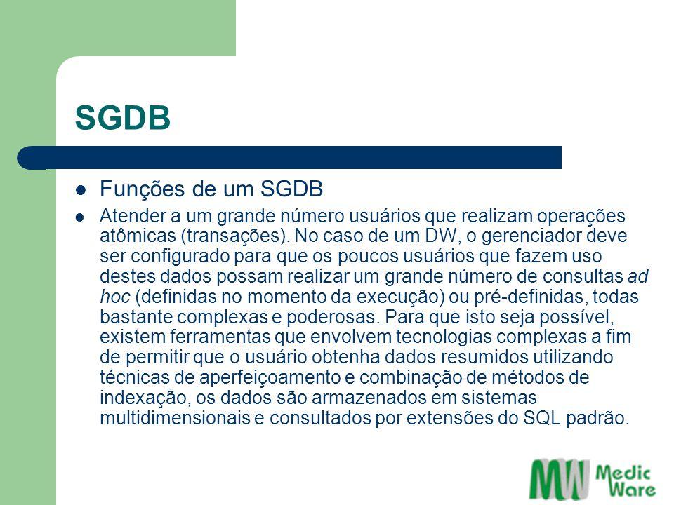 SGDB Funções de um SGDB Atender a um grande número usuários que realizam operações atômicas (transações). No caso de um DW, o gerenciador deve ser con