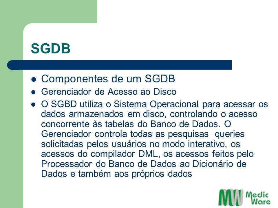 SGDB Componentes de um SGDB Gerenciador de Acesso ao Disco O SGBD utiliza o Sistema Operacional para acessar os dados armazenados em disco, controlando o acesso concorrente às tabelas do Banco de Dados.