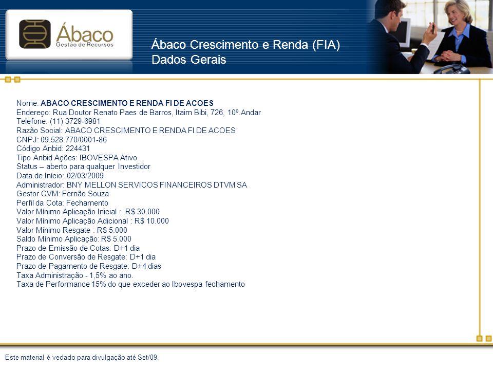 Ábaco Crescimento e Renda (FIA) Dados Gerais Nome: ABACO CRESCIMENTO E RENDA FI DE ACOES Endereço: Rua Doutor Renato Paes de Barros, Itaim Bibi, 726,
