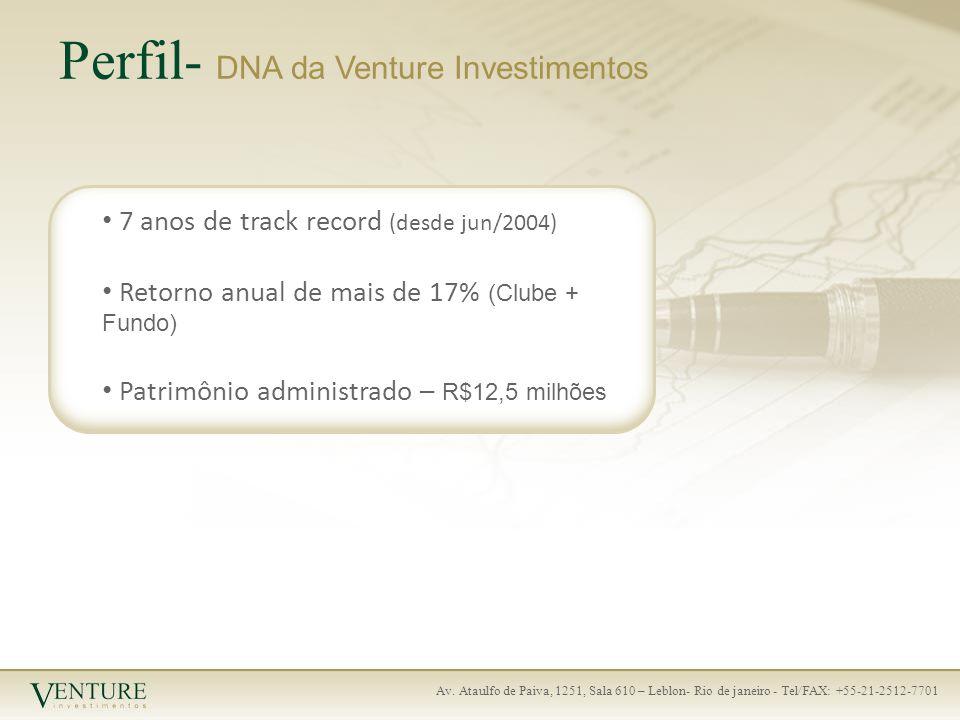 Av. Ataulfo de Paiva, 1251, Sala 610 – Leblon- Rio de janeiro - Tel/FAX: +55-21-2512-7701 Perfil- DNA da Venture Investimentos 7 anos de track record