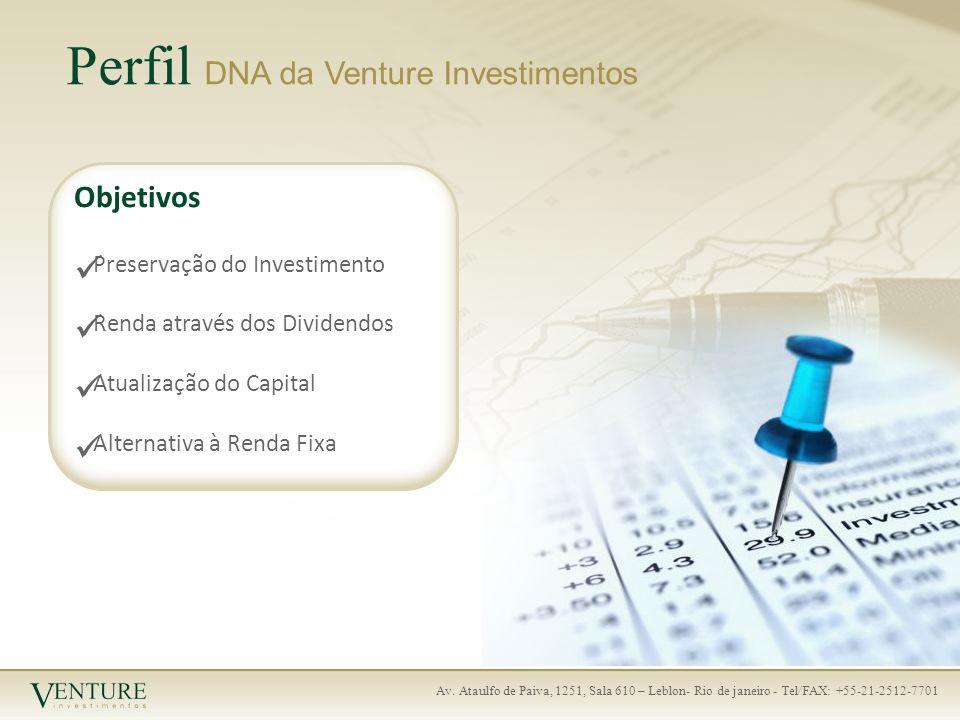 Av. Ataulfo de Paiva, 1251, Sala 610 – Leblon- Rio de janeiro - Tel/FAX: +55-21-2512-7701 Perfil DNA da Venture Investimentos Objetivos Preservação do