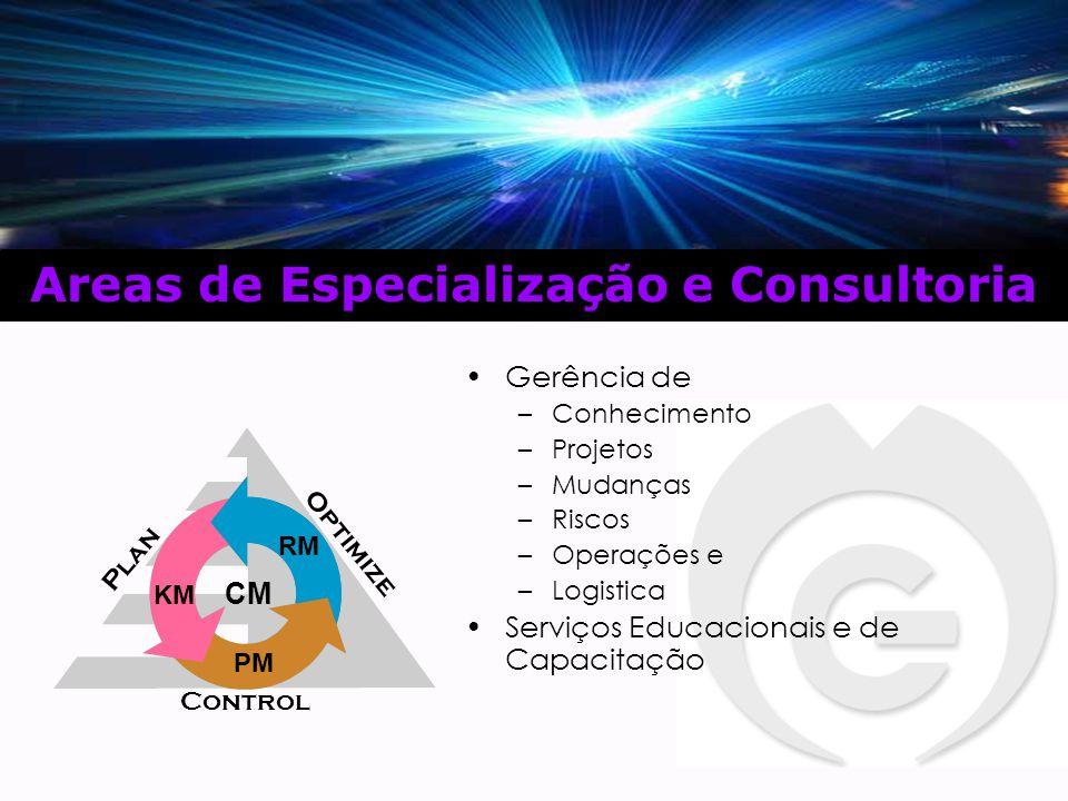 Gerência de –Conhecimento –Projetos –Mudanças –Riscos –Operações e –Logistica Serviços Educacionais e de Capacitação Areas de Especialização e Consultoria KM PM RM CM Plan Control Optimize