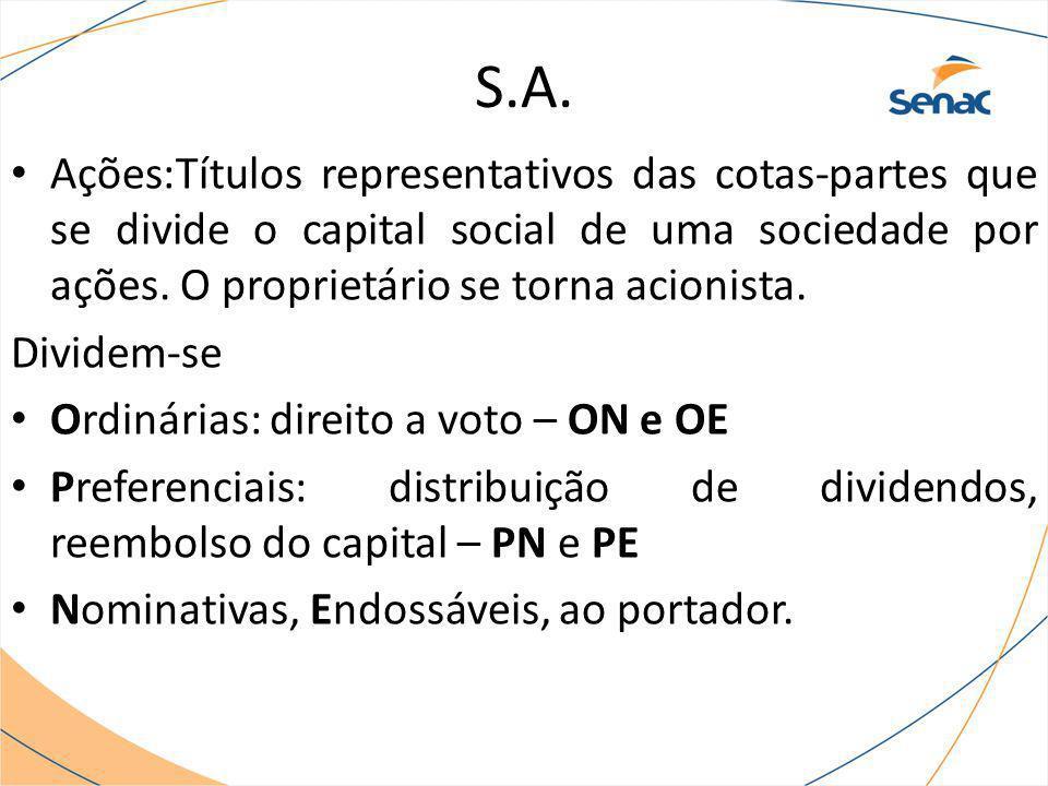 S.A. Ações:Títulos representativos das cotas-partes que se divide o capital social de uma sociedade por ações. O proprietário se torna acionista. Divi