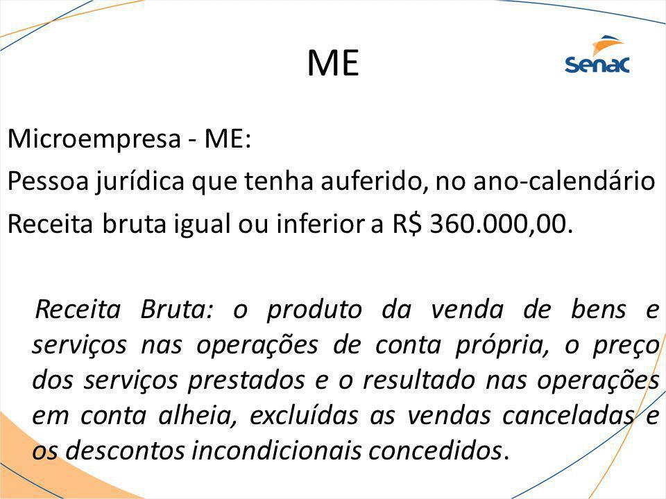 ME Microempresa - ME: Pessoa jurídica que tenha auferido, no ano-calendário Receita bruta igual ou inferior a R$ 360.000,00. Receita Bruta: o produto