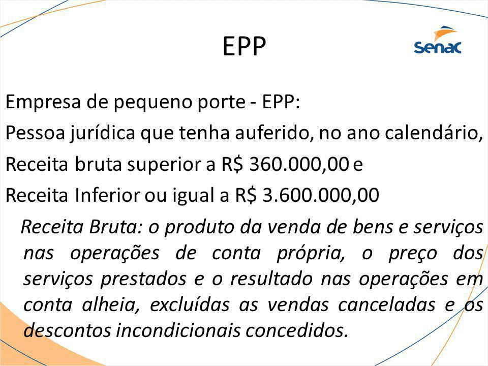 EPP Empresa de pequeno porte - EPP: Pessoa jurídica que tenha auferido, no ano calendário, Receita bruta superior a R$ 360.000,00 e Receita Inferior o