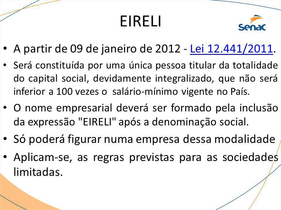A partir de 09 de janeiro de 2012 - Lei 12.441/2011.Lei 12.441/2011 Será constituída por uma única pessoa titular da totalidade do capital social, dev