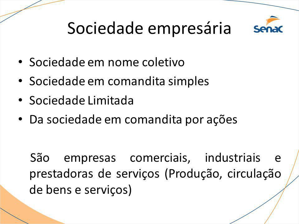 Sociedade empresária Sociedade em nome coletivo Sociedade em comandita simples Sociedade Limitada Da sociedade em comandita por ações São empresas com