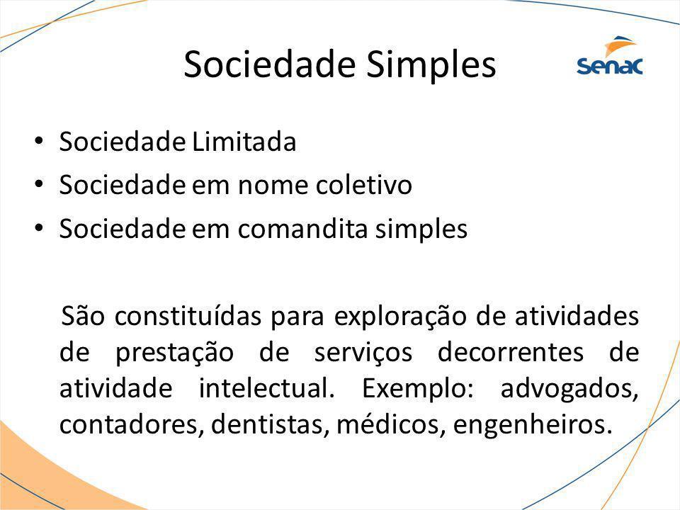 Sociedade Simples Sociedade Limitada Sociedade em nome coletivo Sociedade em comandita simples São constituídas para exploração de atividades de prest