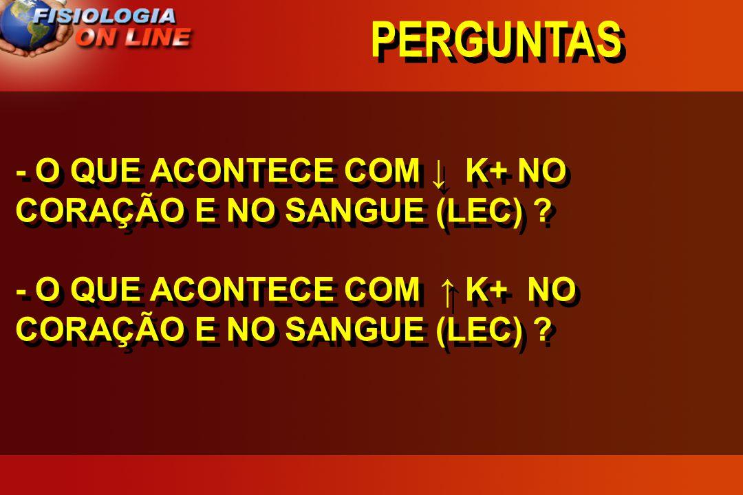 PERGUNTAS - O QUE ACONTECE COM ↓ K+ NO CORAÇÃO E NO SANGUE (LEC) .