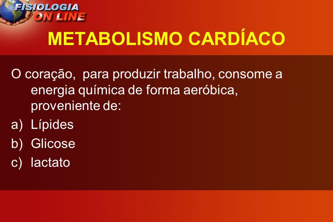 METABOLISMO CARDÍACO O coração, para produzir trabalho, consome a energia química de forma aeróbica, proveniente de: a)Lípides b)Glicose c)lactato