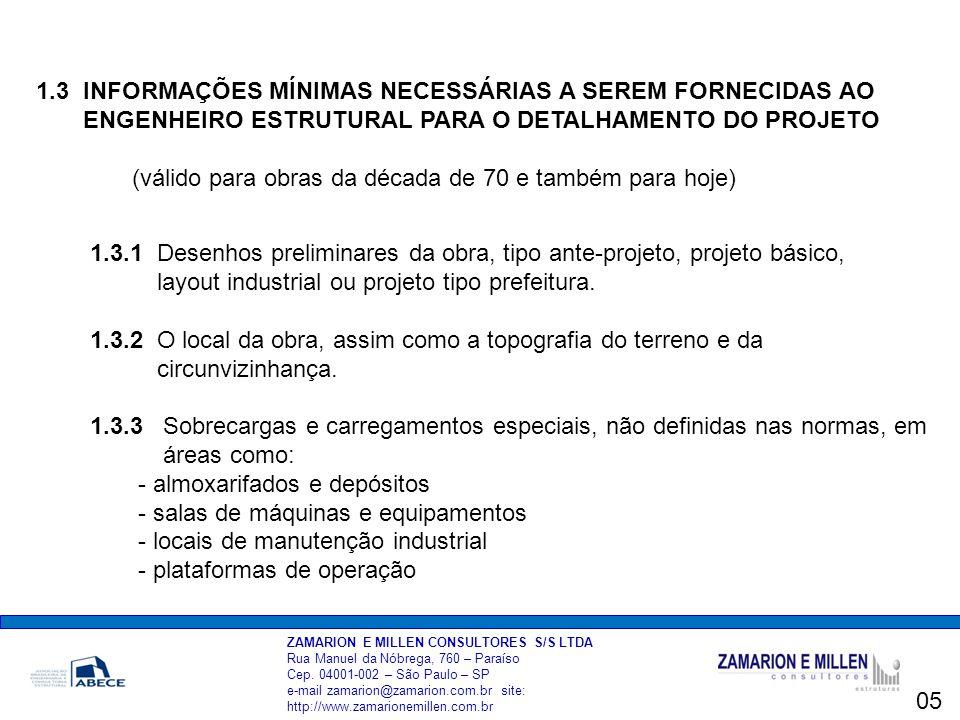ZAMARION E MILLEN CONSULTORES S/S LTDA Rua Manuel da Nóbrega, 760 – Paraíso Cep.