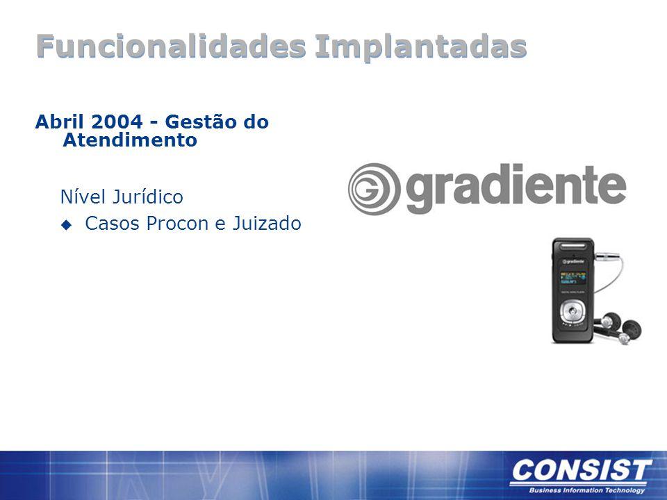 Funcionalidades Implantadas Abril 2004 - Gestão do Atendimento Nível Jurídico u Casos Procon e Juizado