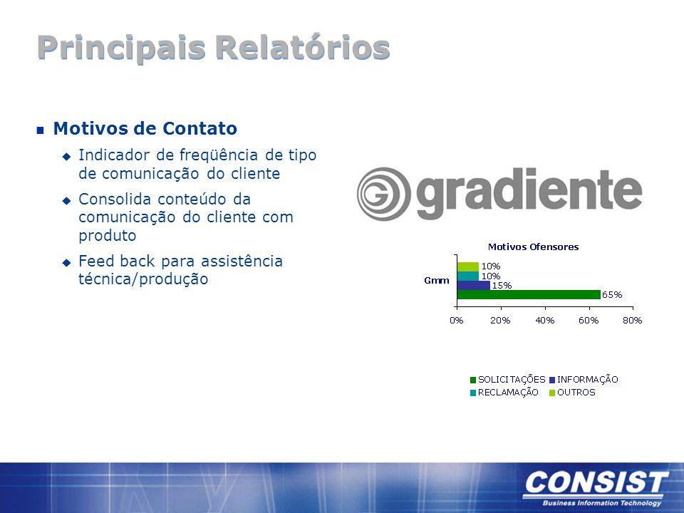 Principais Relatórios n Motivos de Contato u Indicador de freqüência de tipo de comunicação do cliente u Consolida conteúdo da comunicação do cliente
