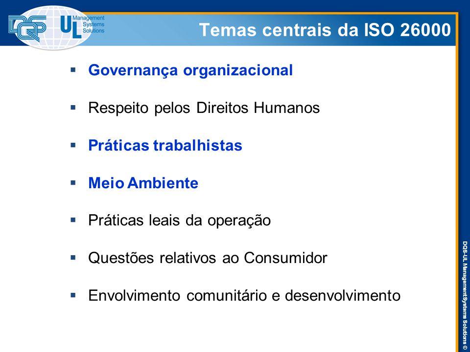 DQS-UL Management Systems Solutions © Temas centrais da ISO 26000  Governança organizacional  Respeito pelos Direitos Humanos  Práticas trabalhistas  Meio Ambiente  Práticas leais da operação  Questões relativos ao Consumidor  Envolvimento comunitário e desenvolvimento