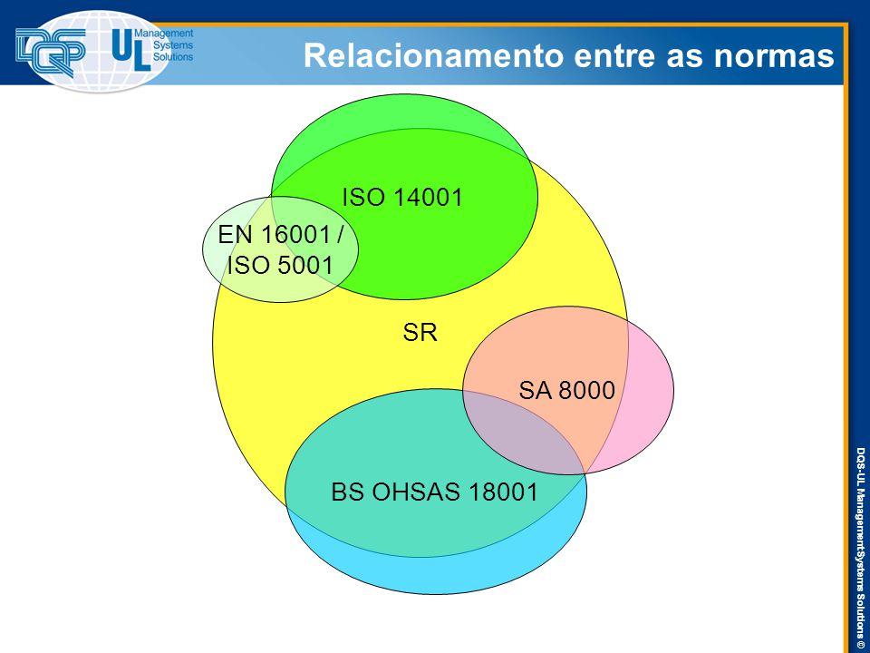 DQS-UL Management Systems Solutions © SR ISO 14001 BS OHSAS 18001 SA 8000 EN 16001 / ISO 5001 Relacionamento entre as normas