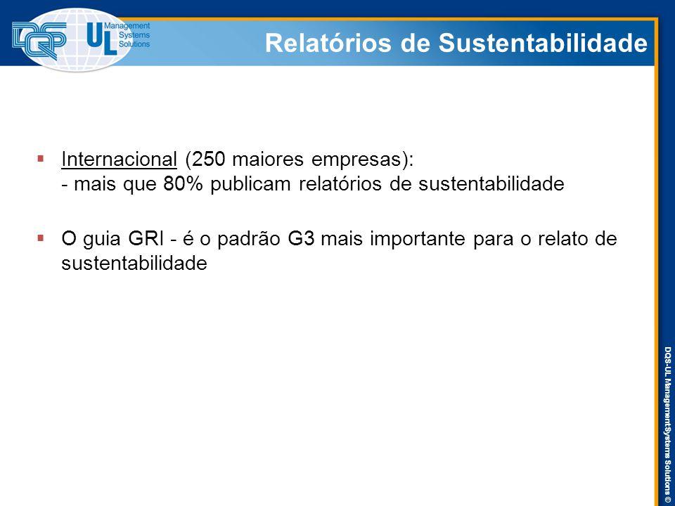 DQS-UL Management Systems Solutions © Relatórios de Sustentabilidade  Internacional (250 maiores empresas): - mais que 80% publicam relatórios de sustentabilidade  O guia GRI - é o padrão G3 mais importante para o relato de sustentabilidade