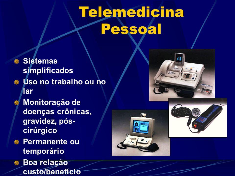 Telemedicina Pessoal Sistemas simplificados Uso no trabalho ou no lar Monitoração de doenças crônicas, gravidez, pós- cirúrgico Permanente ou temporário Boa relação custo/benefício