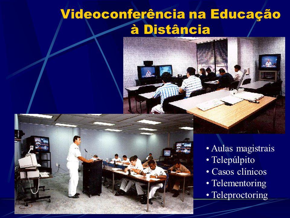 Videoconferência na Educação à Distância Aulas magistrais Telepúlpito Casos clínicos Telementoring Teleproctoring